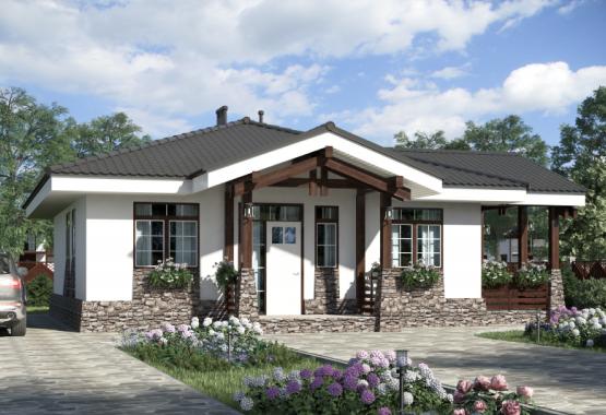 Одноэтажный дом с гаражом (125м²)
